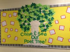 "Our class poetry bulletin board-- ""Come and See Our Poet Tree"" - use hand cut outs for the leaves Literacy Bulletin Boards, Bulletin Board Tree, Bulletin Board Design, Spring Bulletin Boards, School Bulletin Boards, Bullentin Boards, Classroom Displays, Classroom Ideas, Classroom Door"