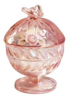 "Fenton ""Princess Roses on Sunset"" Covered Bee Candy Dish"