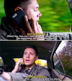 Supernatural 11x10 The Devil in the Details // Sam's new voicemail thanks to Dean haha