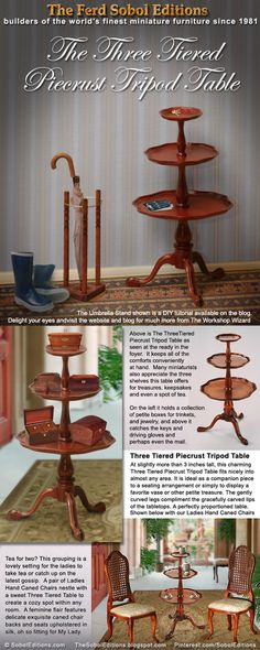 The Ferd Sobol Editions Three Tiered Piecrust Tripod Table. See the DIY tutorial for the cute umbrella stand at the blog: www.TheSobolEditions.blogspot.com
