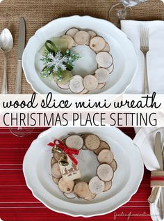 DIY Home Decor | Christmas | These wood slice mini wreaths make beautiful, rustic place settings or chair backers for Christmas!