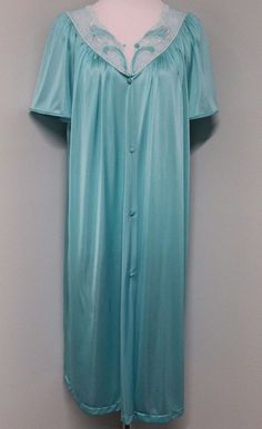 3344198f744 Vintage Vanity Fair L Large Turquoise Button Up Lace Nightgown Gown Bust 44  USA