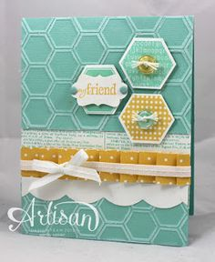 Six Sided Sampler stamp set, Dictionary stamp, Pool P{arty Core'dinations cardstock, Hexagon Punch, Honeycomb TIEF, Edgelit Die - Large Scallop, Candy Dots.   By Wickedly Wonderful Creations