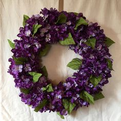 Ready to Ship! Thank you for visiting my shop. My wreaths ship in 1 - 2 days, many times the same day. Beautiful blended Purple Hydrangeas, silk foliage and Spanish moss surround this grapevine wreath. A welcoming entrance in to any home or great on any wall inside the home.