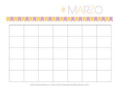 Calendario Marzo Personalizable. Para imprimir Gratis, organizar tu vida y adornar tu escritorio #Printable #Calendar #Calendario #Espanol