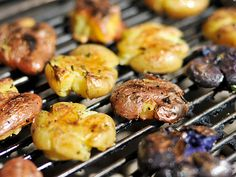 i have been making smashed potatoes on the grill like this for ages.  after they are done on the grill, i bring them in and top them with some finely chopped bacon and cheddar cheese for a KILLER app.