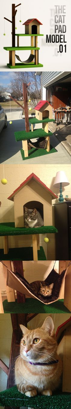 DIY cat pad built for my lovelies! Dressing Design, Diy Cat Tree, Cat Tent, Cat Towers, Cat Room, Cat Condo, Outdoor Cats, Pet Furniture, Mundo Animal