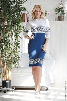 """Купить Платье """"Небесная лилия"""" - синий, Синее платье, платье, вязаное платье, жакард"""