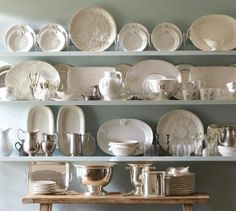 """Holman Shelf   Pottery Barn These shelves come in 24"""", 36"""" and 48"""" lengths.  All are 10"""" deep.  Weight capacity: 40, 50 and 70 pounds (depending upon length).  Click on picture to link to installation video on PB site."""