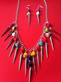 Rainbow Skull and Spike Necklace and Earrings.  Necklace is 50cm and hanging parts are 6cm long.  The earrings are 7.5cm long. #MoggysMall, #Etsy, #Skull, #Necklace