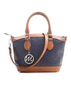 Take a look at this Navy Blue & Cognac Ostrich Leslie Satchel on zulily today!