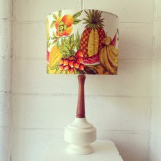 Feeling fruity? On the 1st of every month Retro Print Revival uploads a new lamp on Instagram for sale to the first quick buyer.   This fun lamp is $310 - original vintage fabric and wood/ceramic combo retro lamp base.   www.retroprintrevival.com