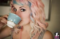 pastel, pink, blue, curled, short wispy bangs, medium length hair