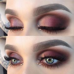 Wow @helenesjostedt ..beautiful blend of burgundy warm tones w/ added bling #MakeupSocial
