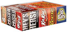 Amazon.com : HERSHEY'S Chocolate Bars Valentine's Candy Variety Pack, Milk Chocolate, Milk Chocolate with Almond Bars, KIT KAT Wafer Bars, REESE'S Peanut Butter Cups, Full Size Gift Pack, 30 Count : Hershey S Smores Kit : Grocery & Gourmet Food Candy Bar Gifts, Bulk Candy, Candy Store, Halloween Chocolate, Halloween Candy, Cheap Halloween, Halloween Goodies, Halloween Decorations, Halloween Costumes
