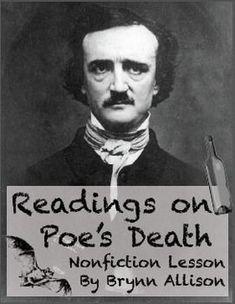 Edgar Allan Poe's Death Readings: Focus on Nonfiction Skills, Argument Essay Edgar Allan Poe, Teaching American Literature, British Literature, Secondary Teacher, Teaching Reading, Teaching Tools, Struggling Readers, Teaching Language Arts, English Classroom