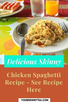 Here is another recipe that is easy to make and it is delicious as well. You Brew My Tea offers Skinny Chicken Spaghetti recipe to make for dinner for you and your family. The ingredients keep the calorie count down and it will help you follow the Smartpoint allocations in Weight Watchers Blue Plan (5 Smartpoints), Green Plan (7 Smartpoints), and Purple Plan (2 Smartpoints). You even get to enjoy pasta, isn't that great! Download the recipe here… #skinnychickenspaghetti #wwchicken… Weight Watchers Lunches, Weight Watchers Breakfast, Weight Watcher Dinners, Weight Watchers Desserts, Healthy Tips, Healthy Dinner Recipes, Chicken Spaghetti Recipes, Skinny Chicken, Ww Recipes
