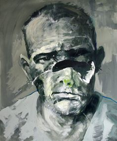"""The series of paintings called """"Alte Kameraden"""" is inspired by photos taken of WWI and WWII veterans. It consists of depictions of war mangled faces ( in a physical as well psychological sense), who just a few years back looked perfectly normal."""