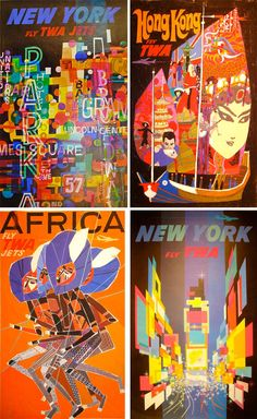 Collection of David Klein TWA Airline posters.