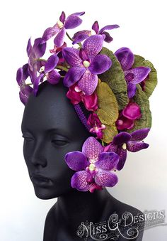 MADE TO ORDER Purple Orchid Flower Headdress by MissGDesignsShop
