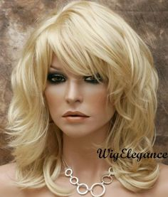 Fashion Wigs | New Style Natural Wavy Layered Wig Pale Blonde Medium Length w Bangs ...