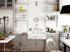 Classical Kitchen with Marble Butler Sink and Gray Handmade Units
