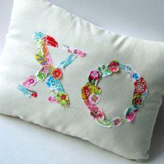 XO Pillow Fabric Scrap Pillow Love Pillow Flower by tracyBdesigns