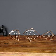 Umbra Prisma Geometric Sculptures, Decorate Your Wall with Modern Metallic Wire Shapes, Table top, Ceiling Décor, Set of Matte Brass Geometric Sculpture, Geometric Wall, Geometric Shapes, Geometric Patterns, Wall Decor Set, Metal Wall Decor, Room Decor, Wall Terrarium, Design3000