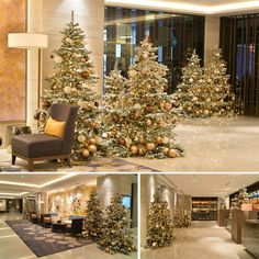 100 snow-covered Christmas trees  @xmasdeco_com www.xmasdeco.com +Xmasdeco  Classy, stylish, impressive and a real Christmas. This hotel decorated their lobby, restaurant and the VIP lounge with over 100 of Xmasdeco's Christmas trees, all covered with snow.   #xmasdeco #designs #beautiful #snow #covered #trees #or #plain #green #once #available  #in #5 #different #shapes #for  #home #and #business #by #the #xmas #designers #decorating #worldwide