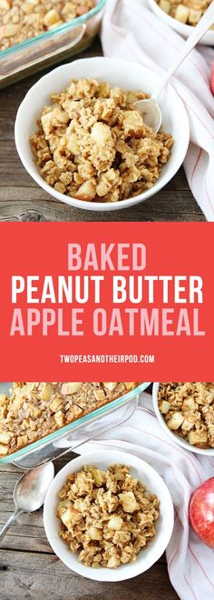 Baked Peanut Butter Apple Oatmeal-this easy baked oatmeal recipe will remind you of your favorite snack! It reheats well, so make a big pan to enjoy all week long. The perfect fall breakfast! #oatmeal #breakfast #peanutbutter #apple #vegetarian