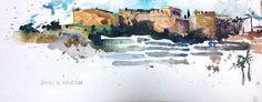 Castillo de Almuñécar Acuarela sobre papel Watercolor -  Aquarelle