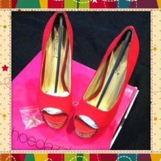 Outstanding Red Canvas Heels