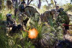 Members of the 2nd Battalion Royal Australian Regiment Manoeuvre Support Platoon provide direct fire support with .50 Cal machineguns during the final Battlegroup Samichon assault at the Shoalwater Bay Training Area during Exercise Talisman Saber on 20 July 17. [2048x1366]