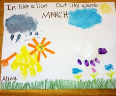 ~~MARCH CRAFT IDEA~~  In like a lion, out like a lamb handprint craft