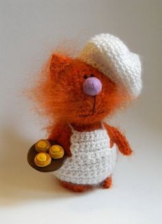 Cat Confectioner & Buns, Crochet Orange Cat, Miniature Cat, Home decor, Interior Toy, Stuffed Animal Toy, Cat Soft sculpture, Made to Order