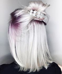 White blonde short hair with purple roots