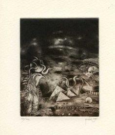 Surrealistic Ex libris Etching by Zdenek Bugan, Slovakia Ex Libris, Worlds Largest, Surrealism, The Originals, Artwork, Artist, Painting, Ebay, Work Of Art