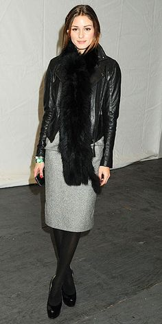 Olivia Palermo wearing a leather jacket (shop your perfect leather garments at www.bluegold.nl)