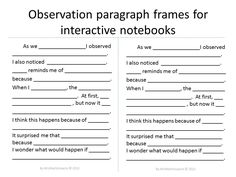 Science writing frames for observation, compare and contrast, and conclusion paragraphs. Frames are in 4 different formats for differentiated levels of scaffolding. $