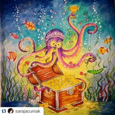 Polvo divino da @sarajacuniak lost ocean oceano perdido johanna basford jardim secreto