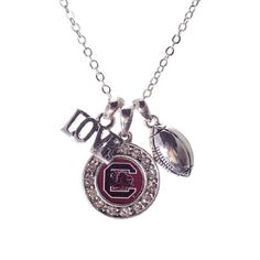 "NCAA South Carolina Fighting Gamecocks Necklace with Cluster Pendant,""Love"" & Football Charm & Round Logo Judson http://www.amazon.com/dp/B00JK6T394/ref=cm_sw_r_pi_dp_XLM4tb0J6KA66"