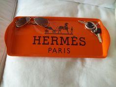 "$60 Hermes Paris Logo Orange Key and Change Tray 15"" x 6.5""   elizabethfordreplicatrays - Housewares on ArtFire"