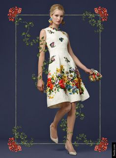 Look of the Day Dolce&Gabbana Fall 2014 Pre Collection Womenswear: Floral Print Embroidered Brocade Dress