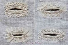 Most up-to-date Absolutely Free heirloom sewing tutorials Ideas Embroidered buttonholes, India and Pakistan Hand Embroidery Patterns, Embroidery Stitches, Embroidery Designs, Sewing Patterns, Knitting Stitches, Ribbon Embroidery, Bullion Embroidery, Embroidery Sampler, Skirt Patterns