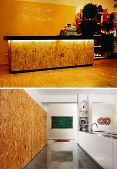 Loving the lighting under the desktop. Maybe we need a lip on the check-in or the desk top to accomodate it. Bar Table Design, Coffee Bar Design, Counter Design, Industrial Interior Design, Shop Interior Design, Osb Board, Retail Store Design, Lighting, Check