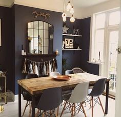 Dining Room Decor Ideas To Impress Your Dinner Guests. Dining room design ideas, whatever the space and budget you have to play with. Find inspiration for your dining room design with these looks and styles. Dining Room Blue, Dining Room Design, Dining Set, Design Table, Small Dining, 8 Seater Dining Table, Eames Style Dining Chair, Navy Dining Chairs, Scandinavian Dining Table