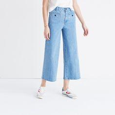 Wide-Leg Crop Jeans in Edgeley Wash: Welt Pocket Edition