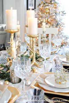Holiday Table Setting with Gold and Crystal