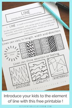 Types of Lines in Art- A Free Element of Line Printable - The Kitchen Table Classroom Line in art is an fun and easy place to start teaching art for kids.Teach the element of line & all the elements of art with this series of free printables. Line Art Lesson, Art Lesson Plans, Art Lessons For Kids, Art Lessons Elementary, Elements Of Art Line, Types Of Lines Art, Different Types Of Lines, Art Types, Line Art Projects
