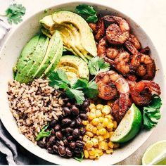 "1,251 Likes, 17 Comments - #BORN2TRANSFORM (@born_2_transform) on Instagram: ""Blackened Shrimp Avocado Burrito Bowls Made by @alyssa_therecipecritic  Serves: 4-5 INGREDIENTS 1…"""